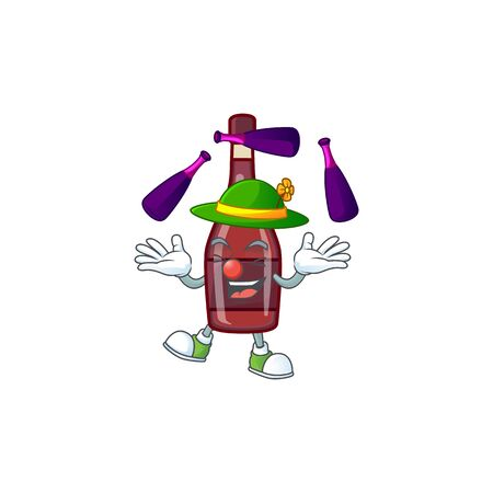 Smart red bottle wine cartoon character design playing Juggling