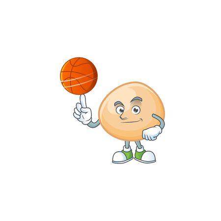 a Healthy brown hoppang cartoon character playing basketball