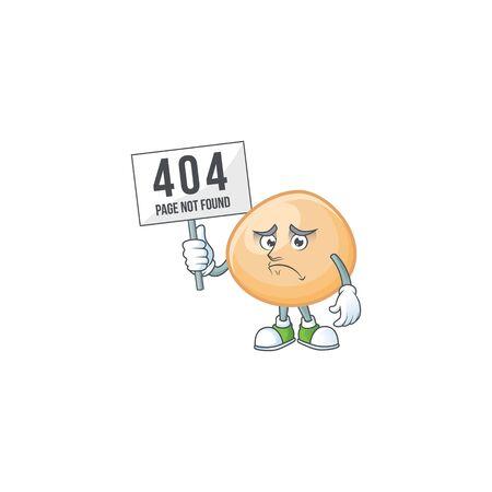 sad face mascot style of brown hoppang raised up a board
