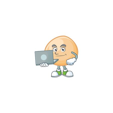 A clever brown hoppang mascot character working with laptop