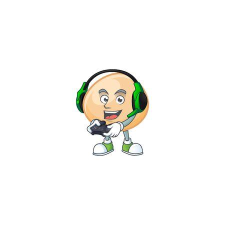 Mascotte de dessin animé hoppan marron cool avec casque et manette