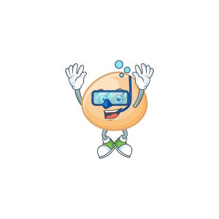 cartoon character of brown hoppang wearing Diving glasses Illustration
