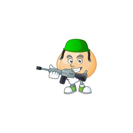 Brown hoppang carton character in an Army uniform with machine gun
