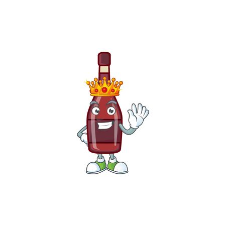 A stunning of red bottle wine stylized of King on cartoon mascot style Ilustracja