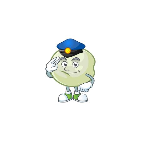 A character design of green hoppang in a Police officer costume