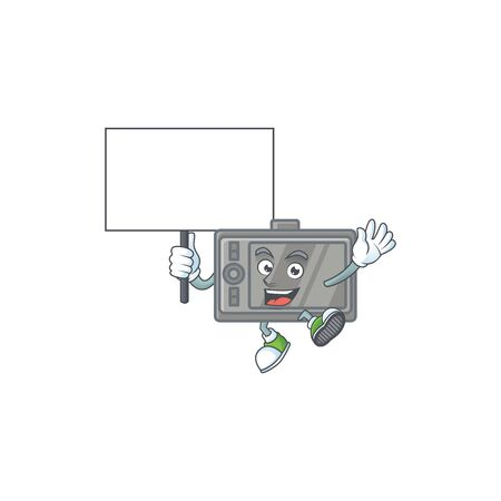A picture of tablet cartoon character with board
