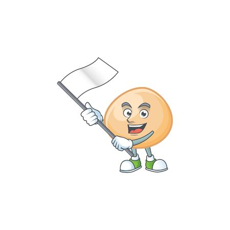 Funny brown hoppang cartoon character style holding a standing flag Banque d'images - 139495573
