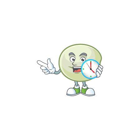 cartoon character style green hoppang having clock Ilustrace