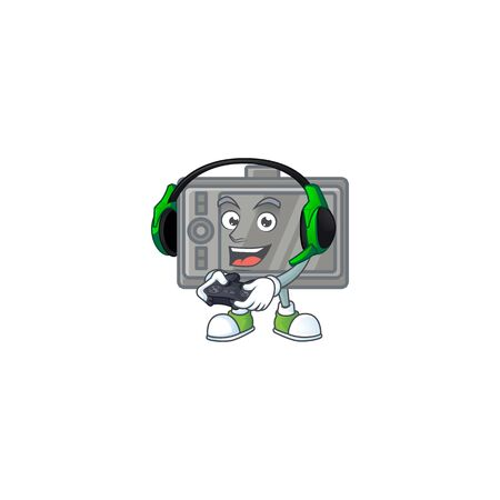 tablet cartoon picture play a game with headphone and controller Vecteurs