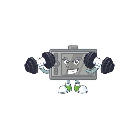 tablet mascot icon on fitness exercise trying barbells