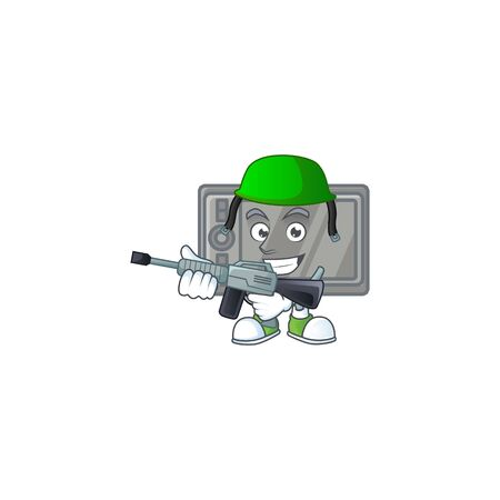 tablet mascot design in an Army uniform with machine gun  イラスト・ベクター素材