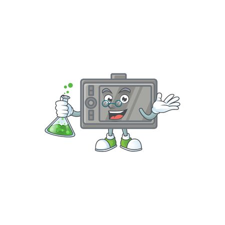 A genius Professor tablet cartoon character with glass tube