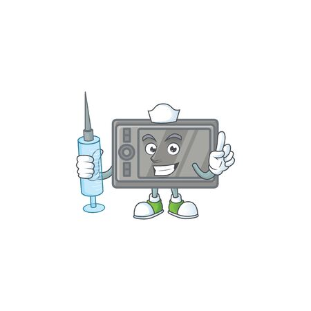 Smiley Nurse tablet cartoon character with a syringe