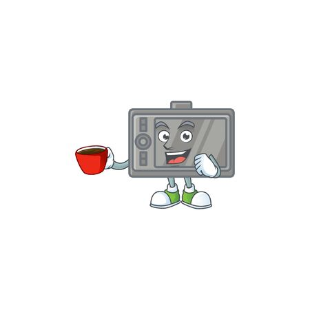 Cool tablet cartoon character with a cup of coffee  イラスト・ベクター素材