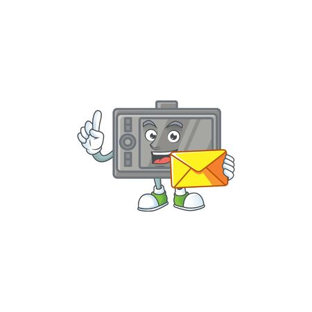 Happily tablet mascot design style with envelope