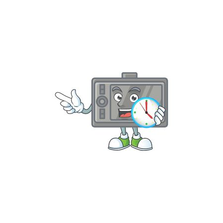 tablet cartoon character style with a clock