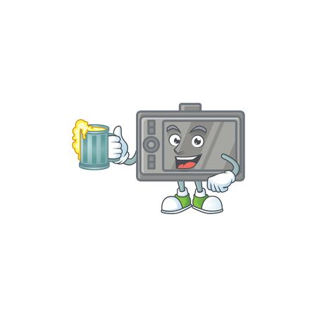 Smiley tablet mascot design holding a glass of beer