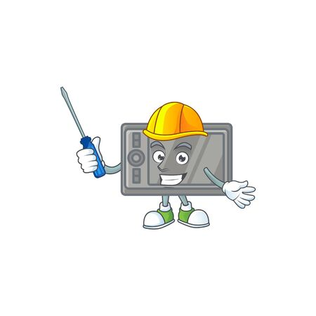 Smart automotive tablet in cartoon character style  イラスト・ベクター素材
