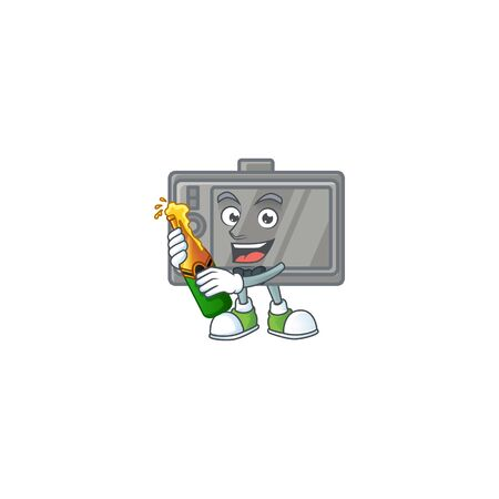 mascot cartoon design of tablet having a bottle of beer
