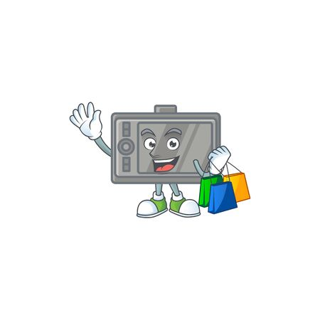 A rich tablet cartoon design waving and holding Shopping bag  イラスト・ベクター素材