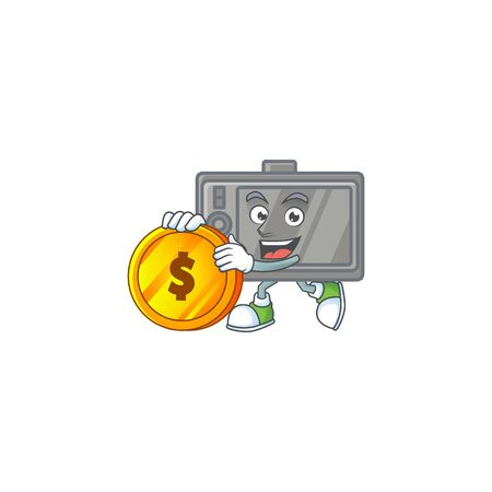 an elegant tablet mascot cartoon design with gold coin