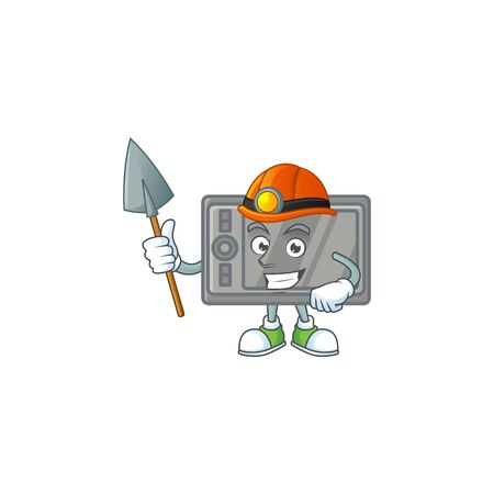 Cool clever Miner tablet cartoon character design  イラスト・ベクター素材