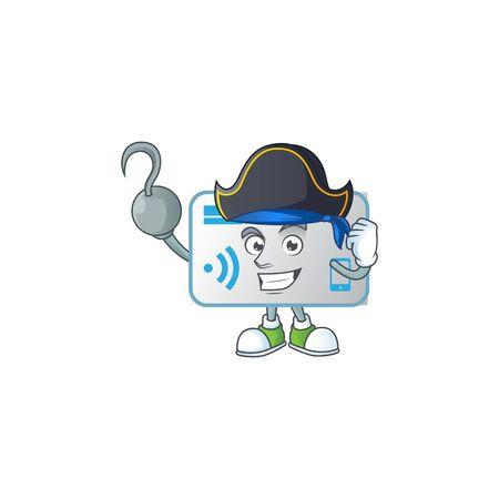 Calm one hand Pirate NFC card mascot design wearing hat. Vector illustration Standard-Bild - 139562389