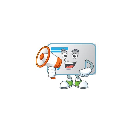 A chilly cartoon character of NFC card with a megaphone. Vector illustration