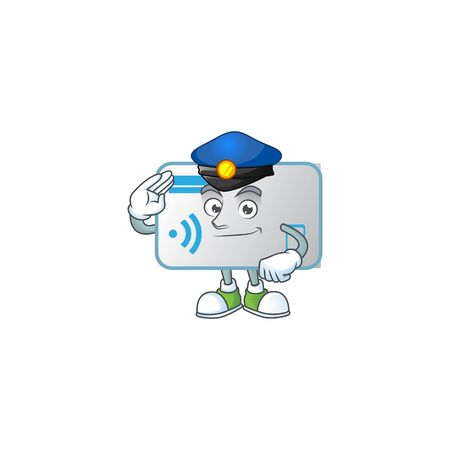 A character design of NFC card working as a Police officer. Vector illustration