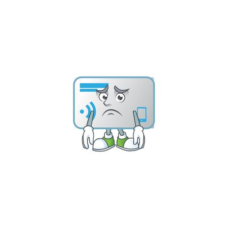Cartoon character of a NFC card having an afraid face  イラスト・ベクター素材