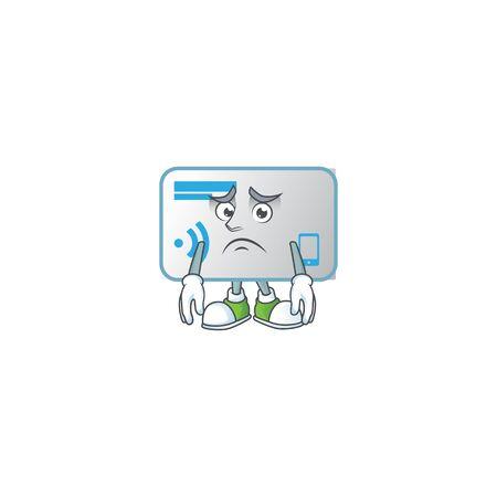 Cartoon character of a NFC card having an afraid face Illustration
