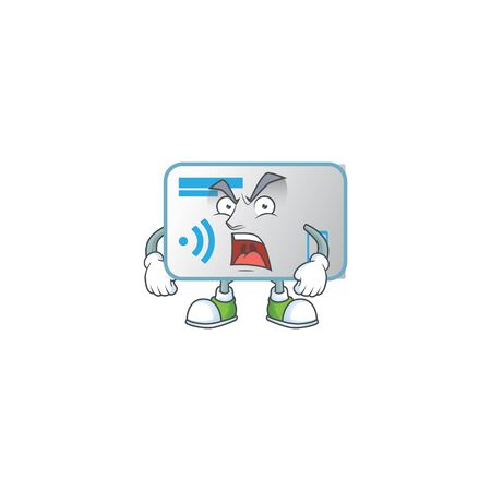 NFC card cartoon character design with angry face  イラスト・ベクター素材