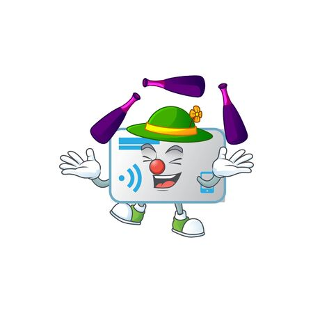 Smart NFC card cartoon character style playing Juggling