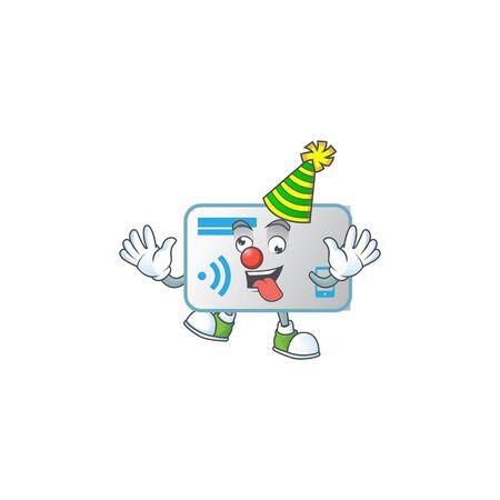 Cute and funny Clown NFC card cartoon character mascot style Ilustração