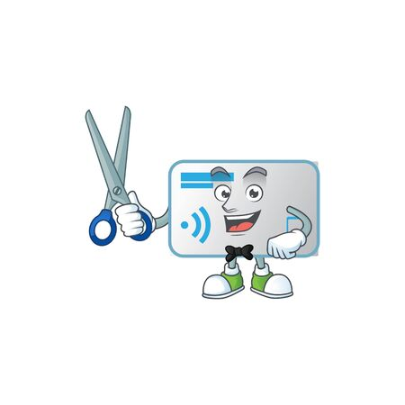 Happy smiling barber NFC card mascot design style