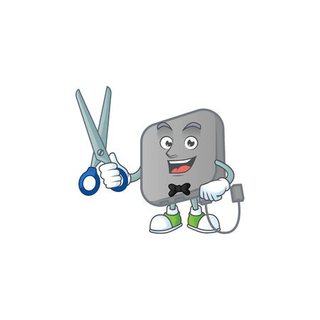 Happy smiling barber power bank mascot design style 向量圖像