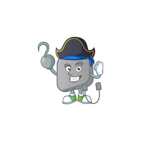 Calm one hand Pirate power bank mascot design wearing hat Standard-Bild - 139576783