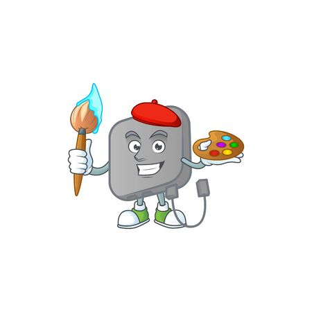 An elegant power bank painter mascot icon with brush