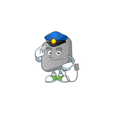 A character design of power bank working as a Police officer 일러스트