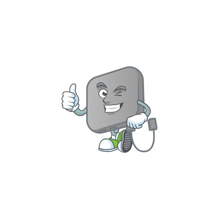 A mascot icon of power bank making Thumbs up gesture