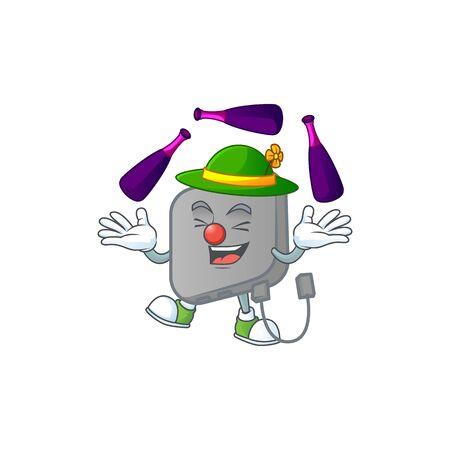 Smart power bank cartoon character style playing Juggling