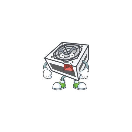 Power supply unit white color cartoon character design with angry face