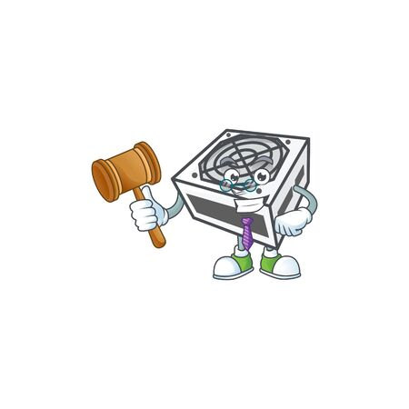 A wise Judge power supply unit white color in comic strip character design