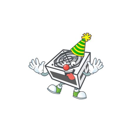 Cute and funny Clown power supply unit white color cartoon character mascot style Ilustração