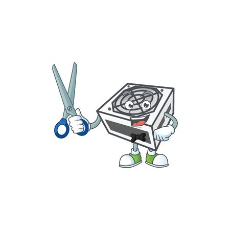Happy smiling barber power supply unit white color mascot design style