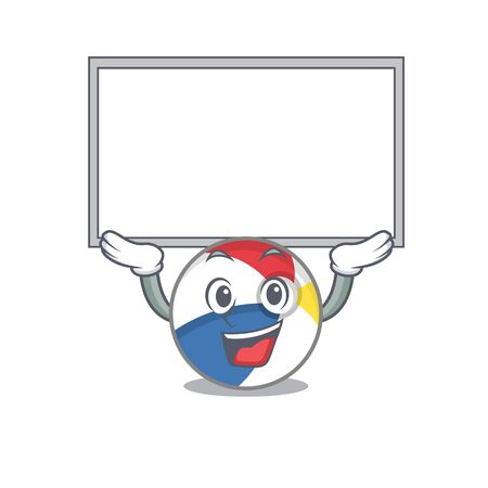 A beach ball mascot picture raised up board. Vector illustration Çizim