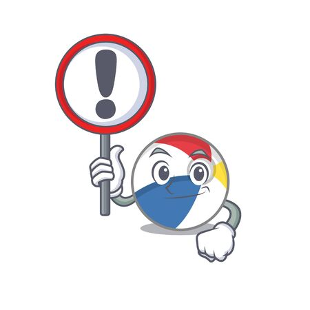 cute mascot character style of beach ball raised up a sign. Vector illustration