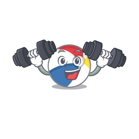 Sporty Fitness exercise beach ball mascot design using barbells. Vector illustration Illustration