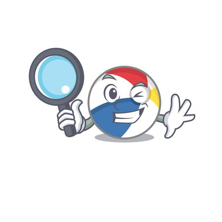Elegant and Smart beach ball Detective cartoon design concept