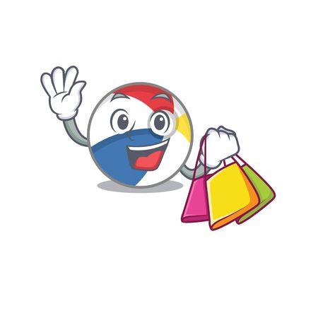 A friendly rich beach ball waving and holding Shopping bag